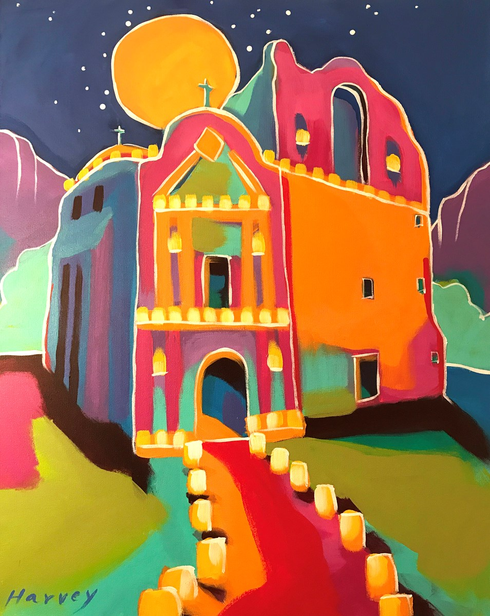 Colorful painting of church surrounded by lights.