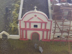 close up of model of front of church