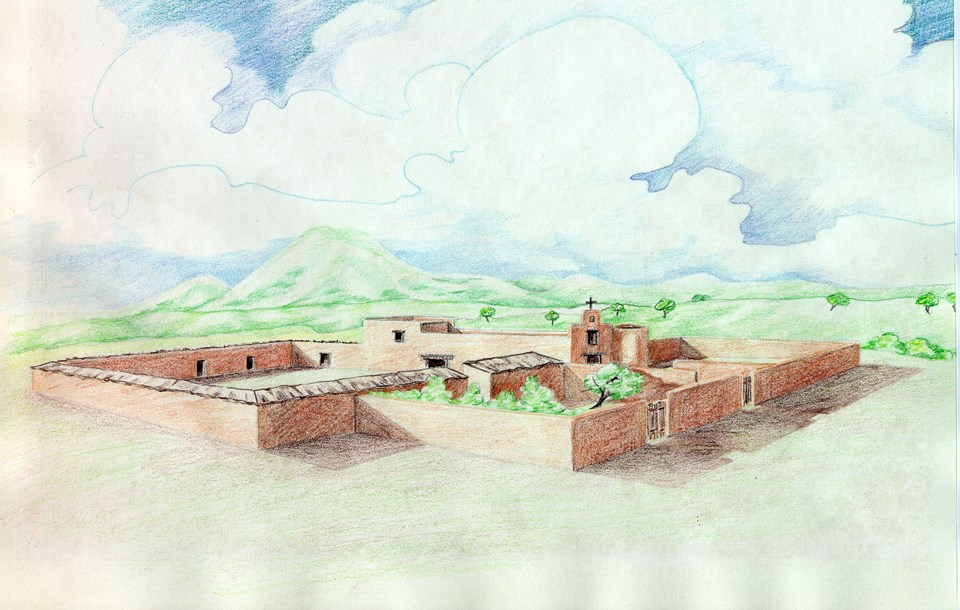 colored pencil drawing of mission complex