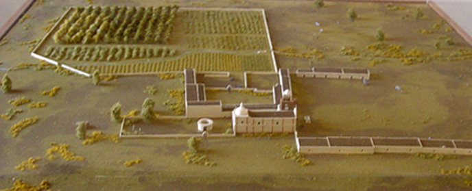 oblique view of model of mission grounds
