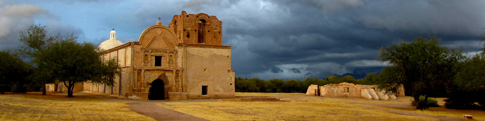 Rare winter storm clouds embrace Mission San José de Tumacácori