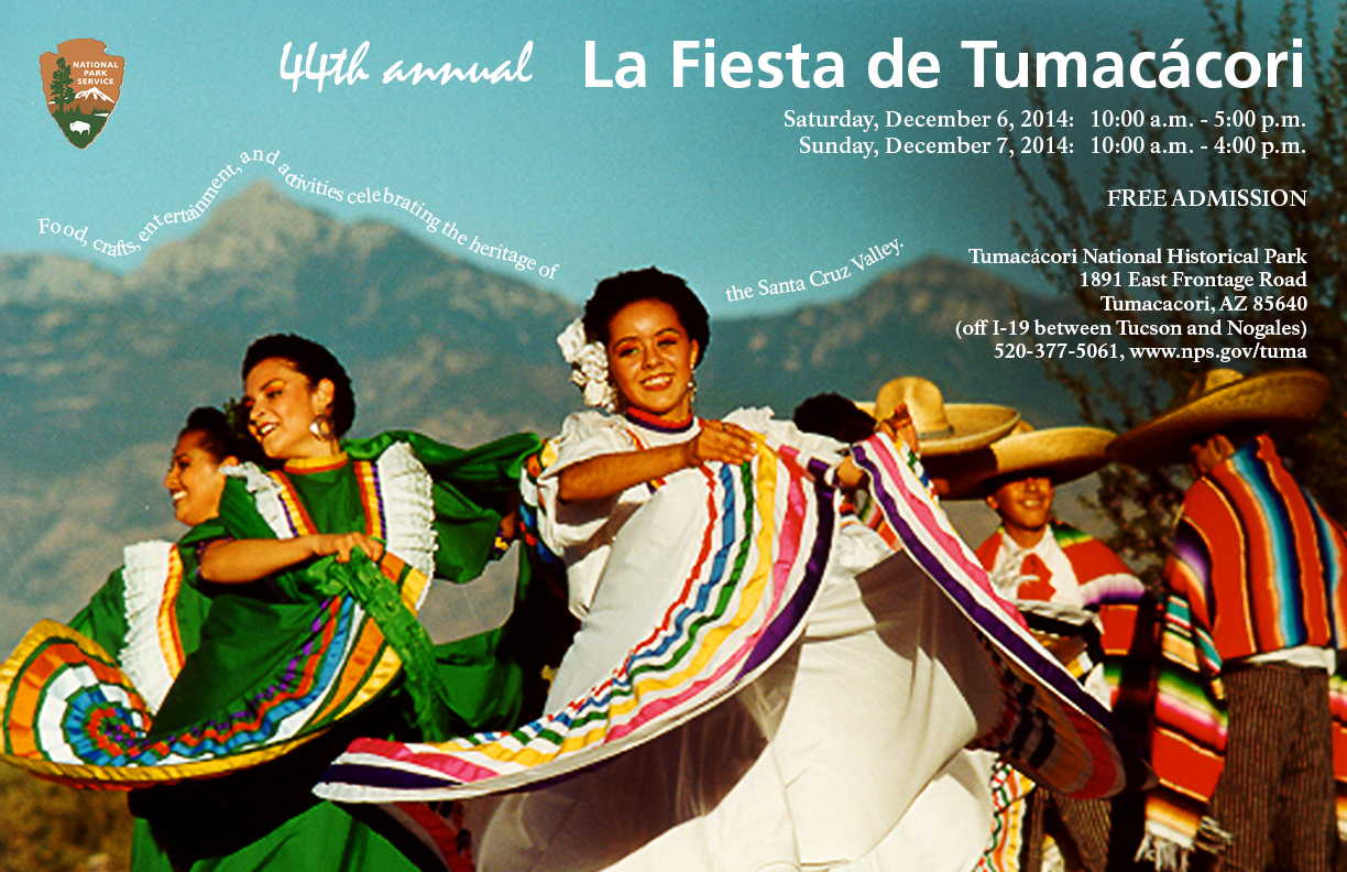 folklorico dancers in front of mountains with text