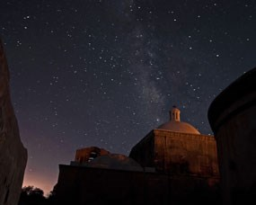 church dome with milky way
