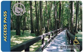 image of pass card with boardwalk and forest