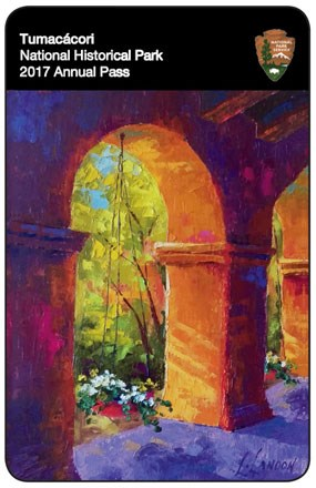 oil painting of garden and arched walkway