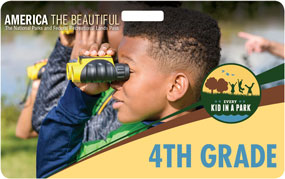 card with image of kid with binoculars