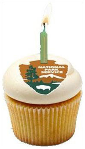 cupcake with national park service arrowhead and candle