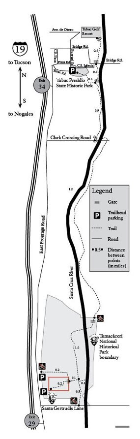 map of trail following river corridor
