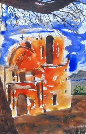 watercolor painting of church facade with branches