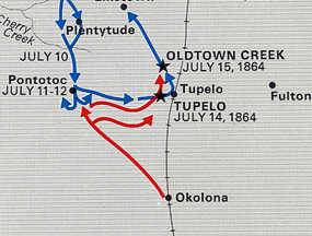 The Federals turned east from Pontotoc and took the high ground in Tupelo instead of going to Okolona.