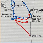 map showing troops moving north from Okolana to Tupelo, Pontotoc, and Old Town