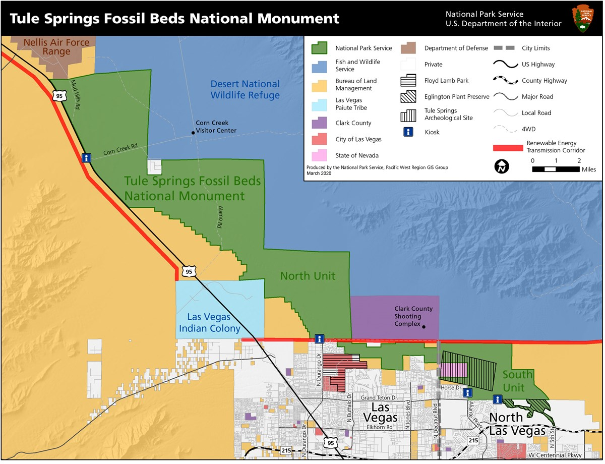 Map of Tule Springs Fossil Beds National Monument.