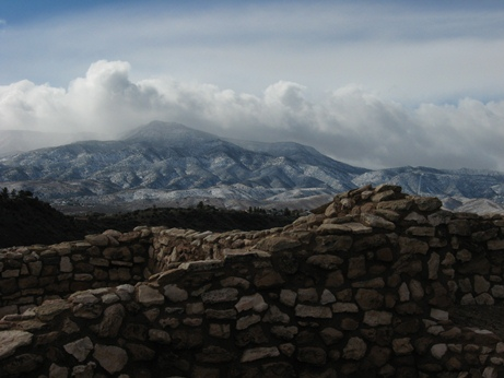 Tuzigoot pueblo with snow on the Black Hills