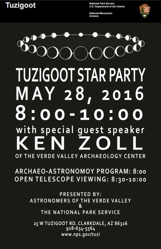 Flyer for star party with black background and phases of the moon in white.