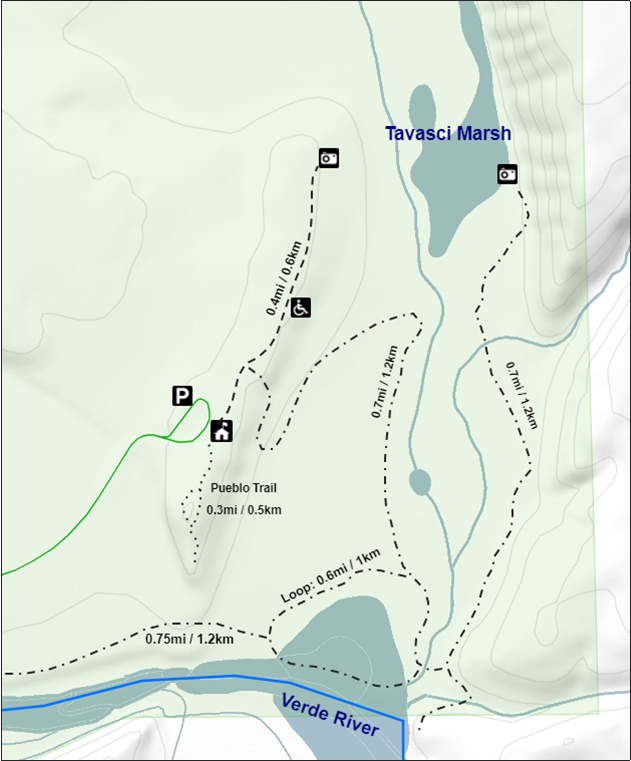 Map showing Verde River and Tuzigoot trails