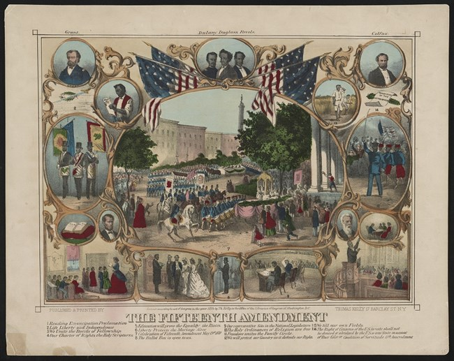 Color lithograph of newly enfranchised African Americans exercising the right to education, free assembly, marriage, and military service.
