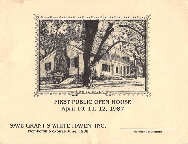 "Membership card for ""Save Grant's White Haven, Inc."" featuring an image of a nineteenth century frame house surrounded by mature trees."