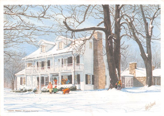 Painting of a white frame house on a snowy day, children playing and making a snowman in the foreground