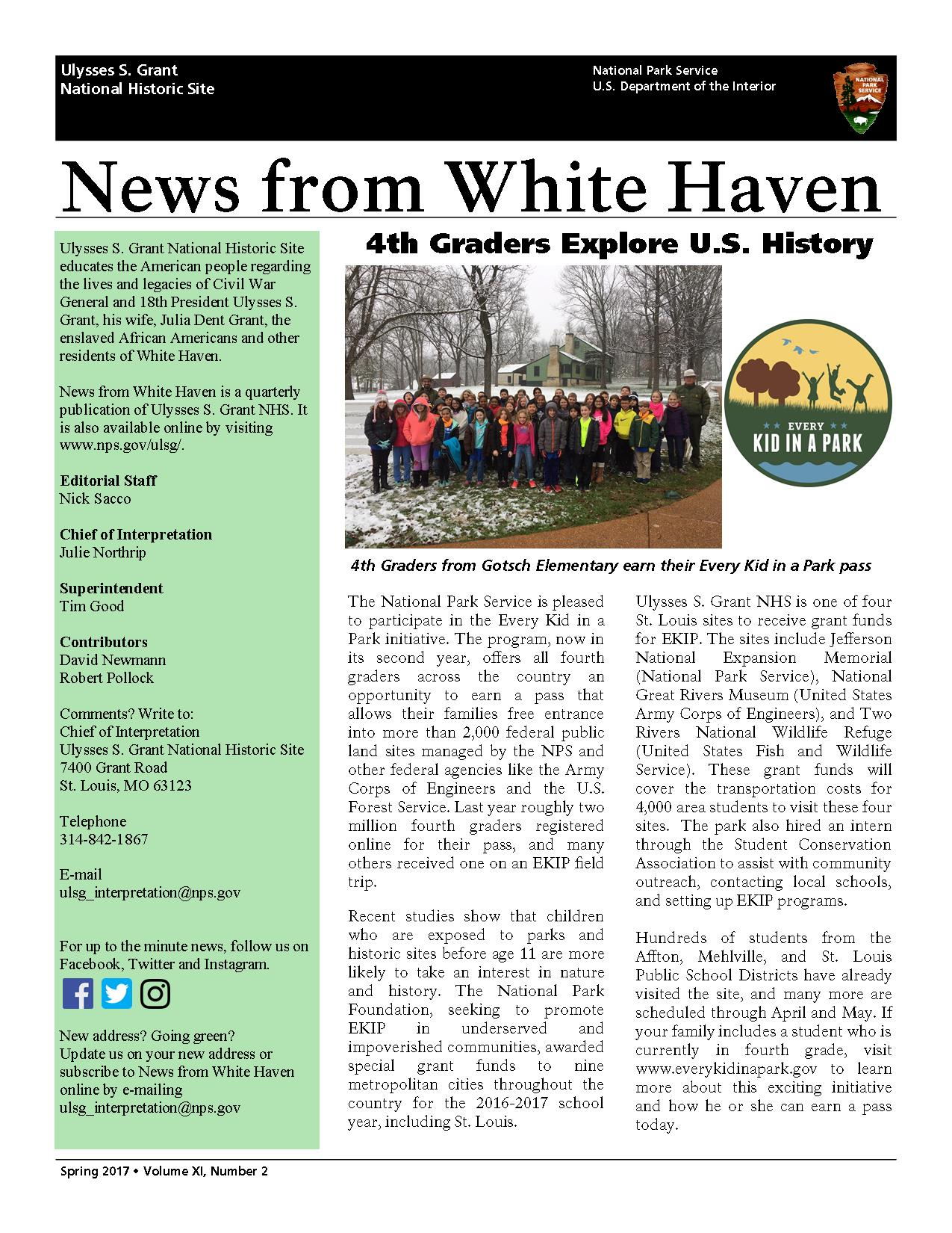 picture of front page of newsletter with school group