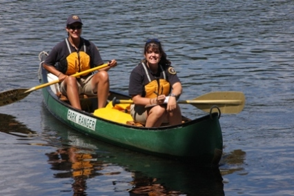 Interns paddling on the Delaware River.