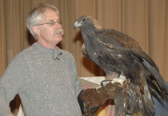 Bill Streeter from the Delaware Valley Raptor Center with Julia a golden eagle.