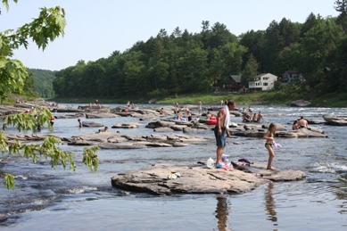 Visitors to the Delaware River at Skinners Falls.