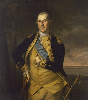 Oil painting of a middle-aged George Washington, left hand inside his coat and a saber by his side.