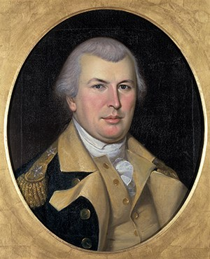 Oil painting of the bust of Nathanael Green wearing the uniform of a general in the Continental Army.