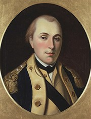 An oil painting of Continental Army General Marquis de Lafayette.