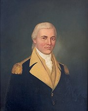 An oil painting of Continental Army General James Mitchell Varnum.