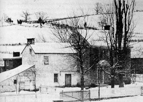 Fig. 1. The earliest known photograph of Washington's Headquarters at Valley Forge, c. 1861. The building was privately owned at the time and used as a residence. (Courtesy, Valley Forge National Historical Park)