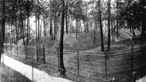 Fig. 11. Early preservation effort at earthwork once known as Fort Washington, now Redoubt #3. A fence was erected to keep tourists outside.