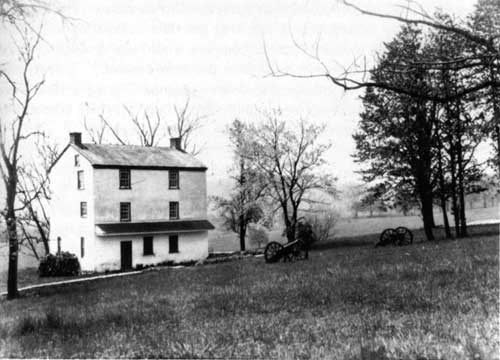early photograph of Varnum's Quarters, purchased by the park in 1918.  after renovation but before drastic restoration of 1934, which lowered the roof.