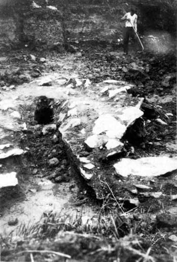 Fig 16 Worker excavating one of Valley Forge's eighteenth-century forges in 1929. It is unclear whether this is the upper or lower forge