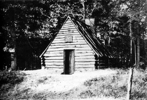 One of the first replica huts at Valley Forge. In the absence of surviving structures, such reproductions were meant to give visitors something tangible to see. This one was constructed in 1905 by the Daughters of the Revolution and can be seen today near the Washington Memorial Chapel.