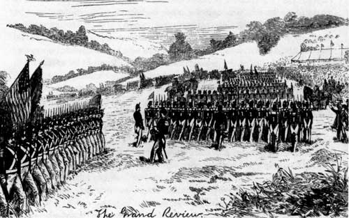 Fig. 2. Valley Forge Centennial, 1878. In this Harper's Weekly illustration, thousands march in formation during the celebration hosted by the Centennial and Memorial Association.