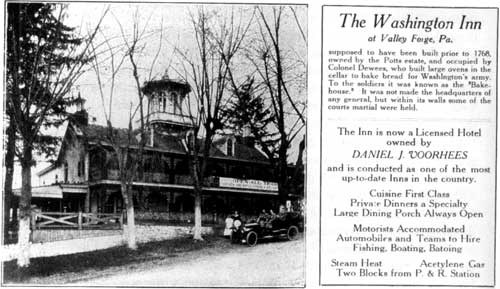"Advertisement for the Washington Inn before Brumbaugh's restoration. The park commission considered the Victorian Italianate inn an ""eyesore"" and directed Brumbaugh to restore it to its eighteenth-century appearance."