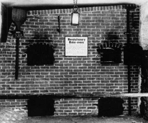 The bake ovens that never were. It was once thought that bread had been baked at the Washington Inn in ovens hidden in the cellar. Though Brumbaugh found no traces of such ovens, replicas were installed anyway in the 1960s.