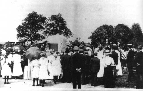 Fig 9. The 1911 dedication ceremony for monument commissioned by the Valley Forge DAR. The location was then thought to be an unmarked burial ground for Revolutionary soldiers.