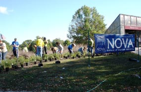NOVA volunteers on public lands day assist with landscaping around the welcome center