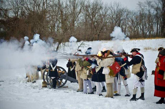Continental Soldier re-enactors perform an artillery and musket demonstration