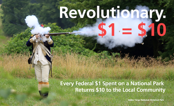 A Soldier Fires a Musket with a Text Graphic Describing Economic Impact to Parks