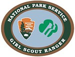 National Park Service Girl Scout logo. Arrowhead logo on the left and Girl Scouts of America logo on the right.