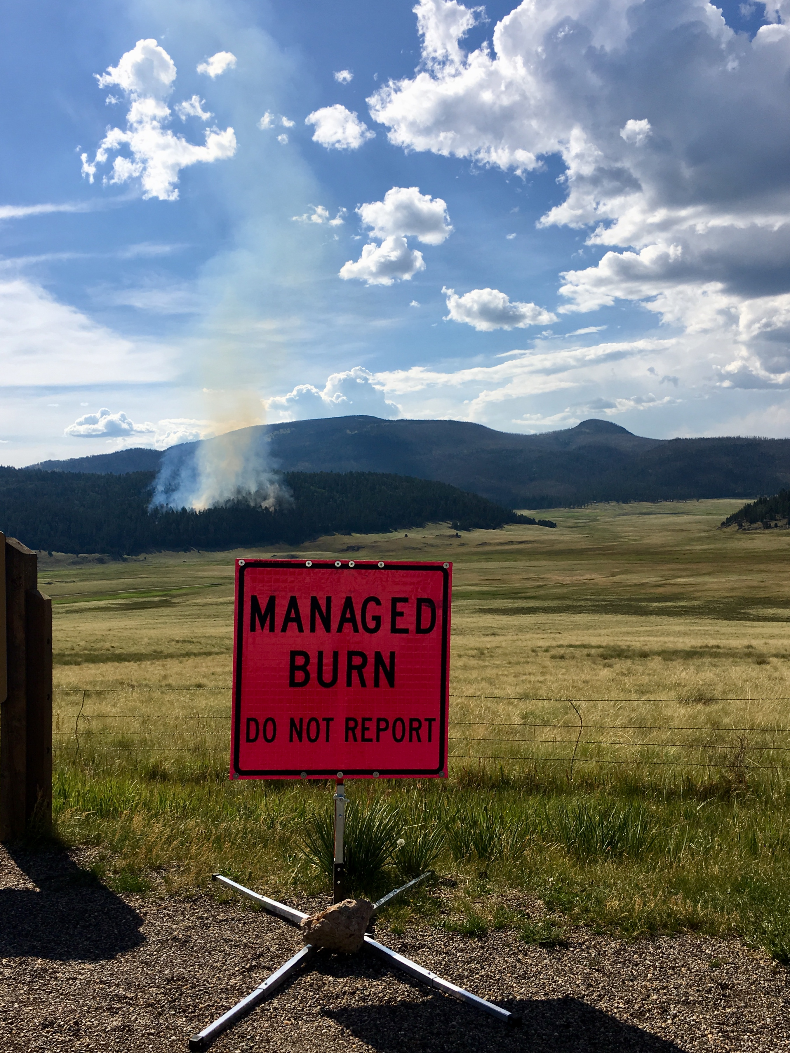 "Smoke from Hidden Valley Fire behind sign reading, ""Managed Burn"""