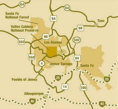 Map of Valles Caldera and nearby cities