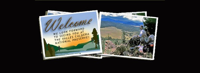 Two snapshots, one with scenic view and the other with a welcome to Valles Caldera message.