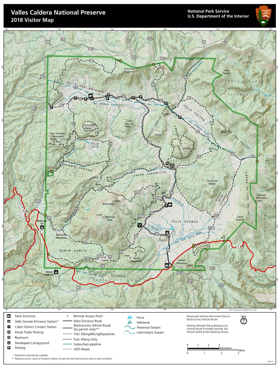 National Parks In New Mexico Map.Maps Valles Caldera National Preserve U S National Park Service