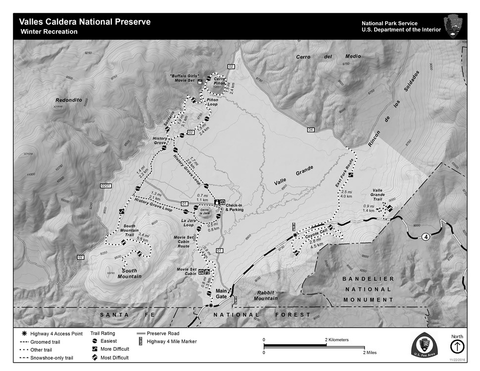 Maps Valles Caldera National Preserve US National Park Service - Calderas in the us map
