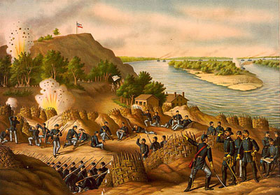 Union bombardment of Confederate lines at Vicksburg