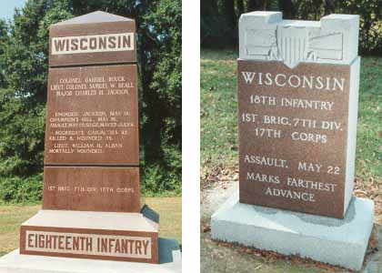 18th Wisconsin Infantry Regimental Marker and Assault, 22 May 1863